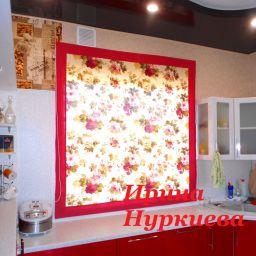 Римская штора в раме.  Нуркиева Ирина. Кухня. Пошив и фото штор в интерьере 2016