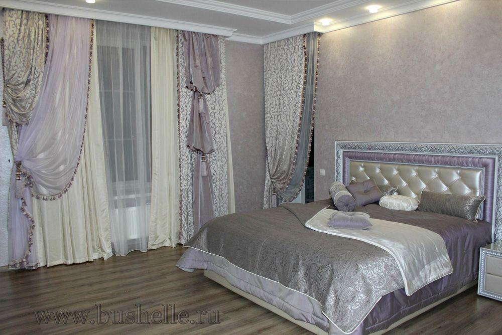 Шторы, покрывала. Сиреневая Спальня в загородном доме на Киевском шоссе. Шторуз.ру