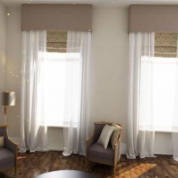 Современная гостиная. Шторы на крючках римские шторы в гостиную. Современный стиль. Шторуз.ру