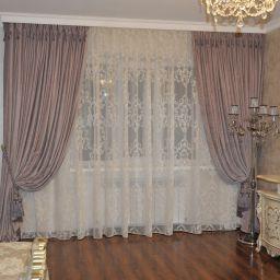 Спальня в частном доме. Поселок Энем. . Салон штор Уют-к. Спальня. Пошив и фото штор в интерьере 2016