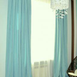 Гостевая на Татарском переулке. На шторной ленте и со складками в ручную в спальню. Современный стиль. Шторуз.ру