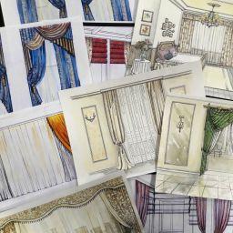 Эскизы на различные проекты. Дизайнер в салоне штор Екатерина. Пошив и фото штор в интерьере 2016