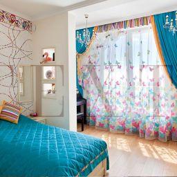 Детская  девочки на Первомайской. Салон штор TEXTI. Детская. Пошив и фото штор в интерьере 2016