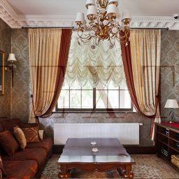 Гостиная в КП Бавария. Салон штор TEXTI. Гостиная. Пошив и фото штор в интерьере 2016