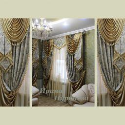 Шелк цвета старое золото - отличное решение хозяев этой гостиной. Частный дизайнер по шторам Нуркиева Ирина. Пошив и фото штор в интерьере 2016