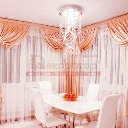 Гостиная-столовая на Передовиков. Салон штор Декоратор. Пошив и фото штор в интерьере 2016