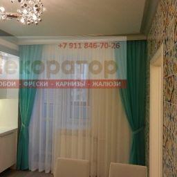 Цветной вуаль для кухни. Салон штор Декоратор. Пошив и фото штор в интерьере 2016