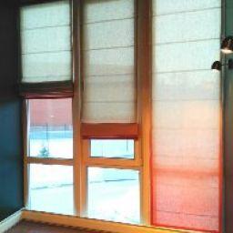 Римские шторы из ткани с градиентом.. Частный дизайнер по шторам Левченко Лилия. Кабинет. Пошив и фото штор в интерьере 2016