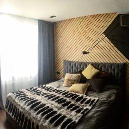 Мужская спальня в Раменках. Частный дизайнер по шторам Дарья. Пошив и фото штор в интерьере 2016