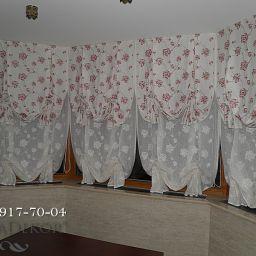 Шторы в загородном доме. Эркерное окно на кухне..  +7(812) 917-70-04. Пошив и фото штор в интерьере 2016