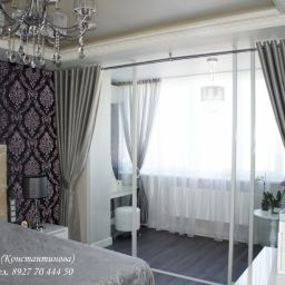 Спальня.. Частный дизайнер по шторам Иванова Юлия. Спальня. Пошив и фото штор в интерьере 2016