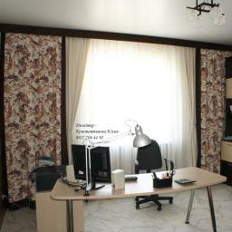 Кабинет в коттедже.. Частный дизайнер по шторам Иванова Юлия. Кабинет. Пошив и фото штор в интерьере 2016