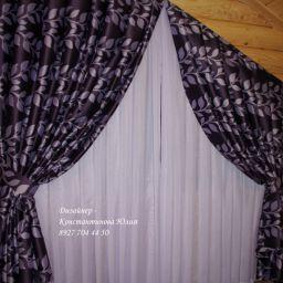 Спальни в срубовом доме.. Частный дизайнер по шторам Иванова Юлия. Спальня. Пошив и фото штор в интерьере 2016